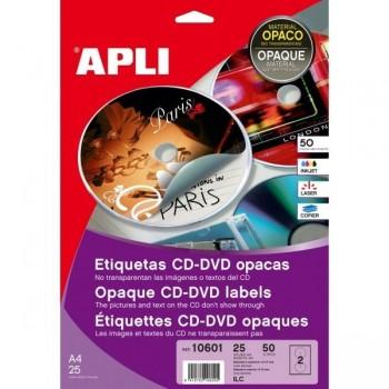 ETIQUETA CD-DVD REMOV.OPACA INK.50U
