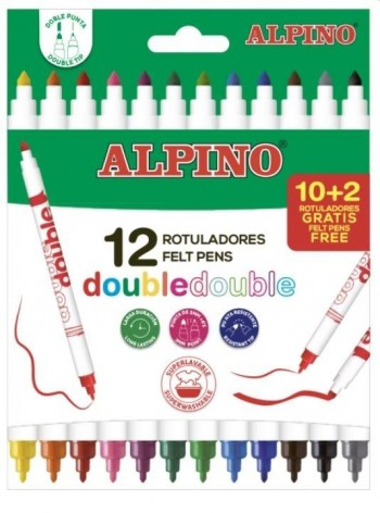 ROTULADORES ALPINO DOBLE PUNTA 12 COLORES
