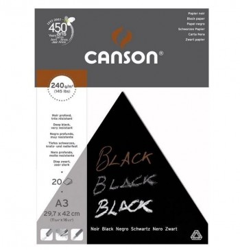 BLOCK DIBUJO NEGRO INTENSO CANSON 240gr 20H