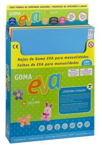 EXPOSITOR 57 LAMINAS GOMA EVA 45X60 COLORES SURTIDOS