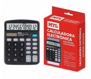 CALCULADORA MTL 125X165 12 DIGITOS