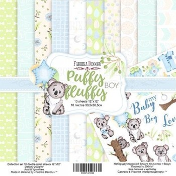 KIT PAPEL DOBLE CARA PUFFY FLUFFY BOY, 12 X 12
