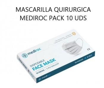 MASCARILLA  QUIRURGICA TIPO II 3 CAPAS BLANCA DESECHABLE CAJA 10 UDS MEDIROC