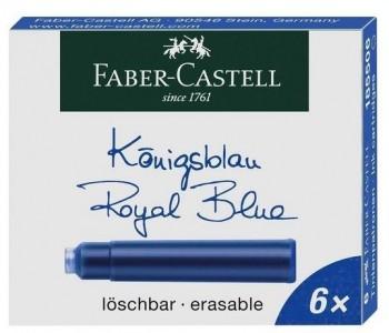 CARTUCHO PLUMA FABER-CASTELL CAJA 6 UDS  AZUL, NEGRO Y ROJO
