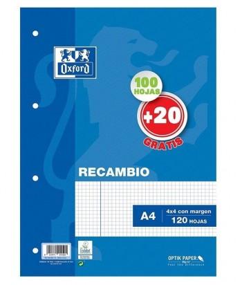 RECAMBIO OXFORD A4 100+20H CUADROS 4X4
