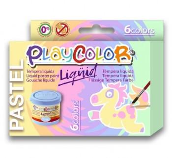 TEMPERA BASIC PLAYCOLOR LIQUIDA PASTEL 6 COLORES