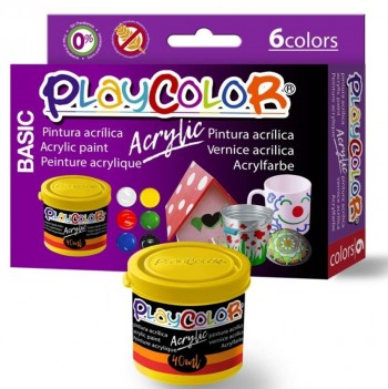 TEMPERA  ACRILICA BASIC PLAYCOLOR SET 6COLORES