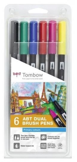 SET 6 ROTULADORES DUAL BRUSH ABT COLORES PRIMARIOS TOMBOW