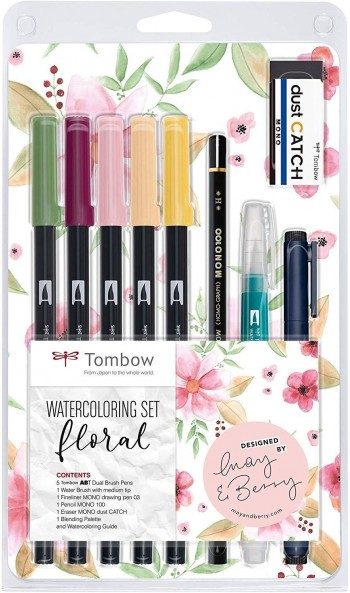 SET WATERCOLORING FLORAL TOMBOW