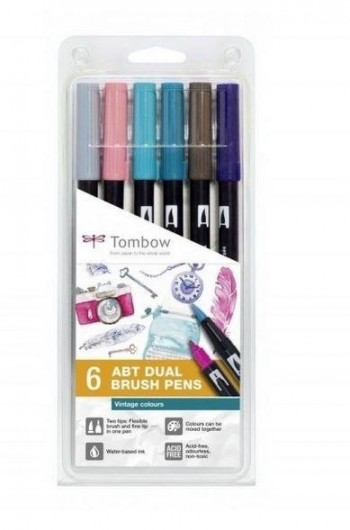 SET ABT DUAL BRUSH TOMBOW 6 COL. VINTAGE