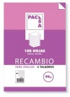 RECAMBIO PACSA A4 100H RAYAS 3.5 90GRAMOS