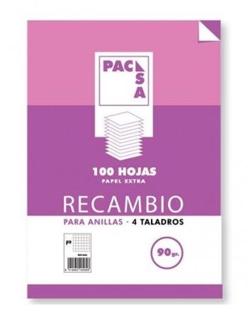 RECAMBIO PACSA A4 4 TALADROS CUADROS 4X4 90GRAMOS