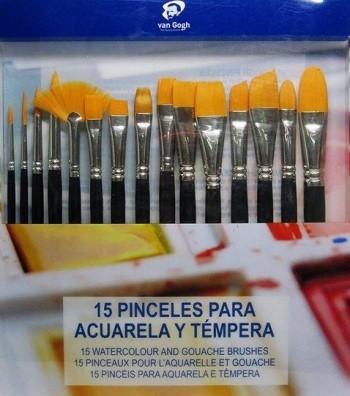 SET 15 PINCELES VAN GOGH CORTOS ACUARELA Y TEMPERA